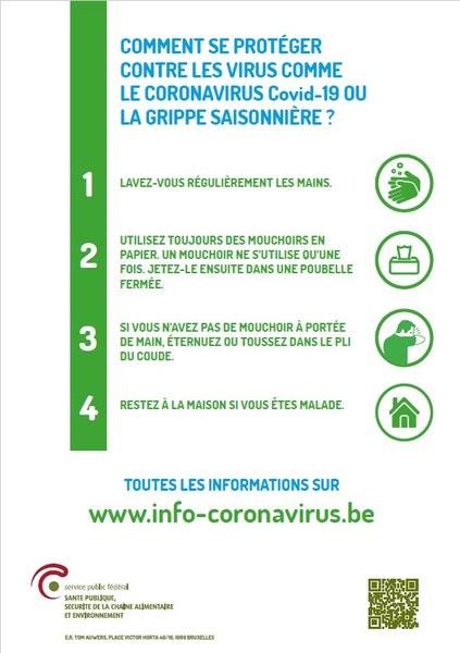 Informations importantes concernant le coronavirus Covid-19
